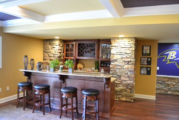 Wet Bar area of Finished basement built By Jeffrey L. Henry Inc.
